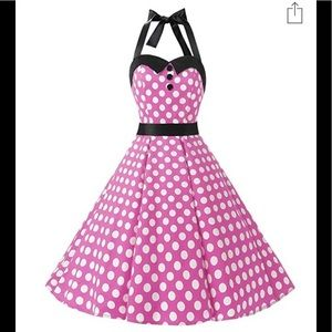 Dresses & Skirts - 50's Tea Dress. Pink w/ White Polka Dots, Blk Trim